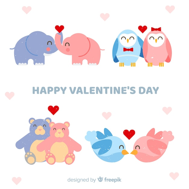 Valentine smiling animal couple collection Free Vector
