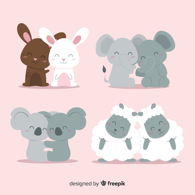 Valentine smiling animal couple pack Free Vector