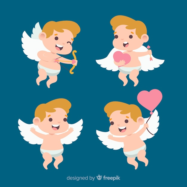 Valentine smiling cupid collection Free Vector