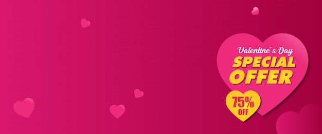 Valentine special offer promo banner design template Premium Vector