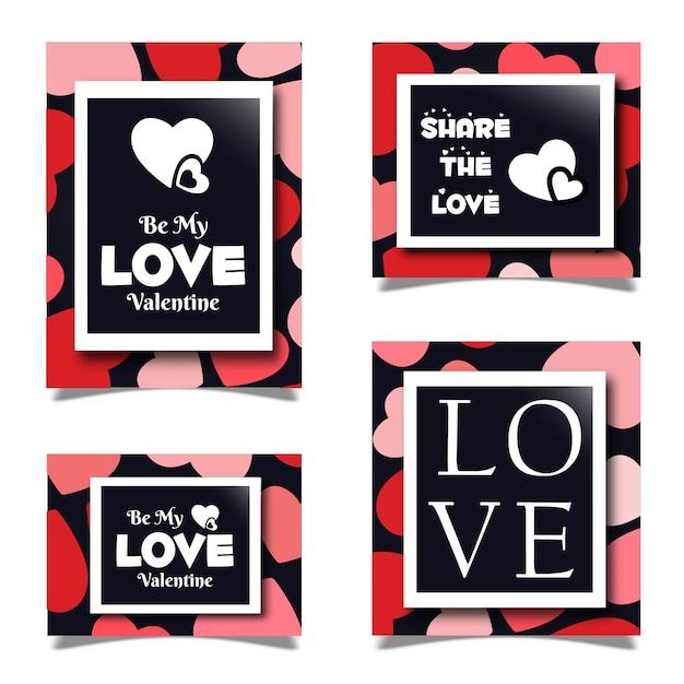 Valentine stationery sets Free Vector