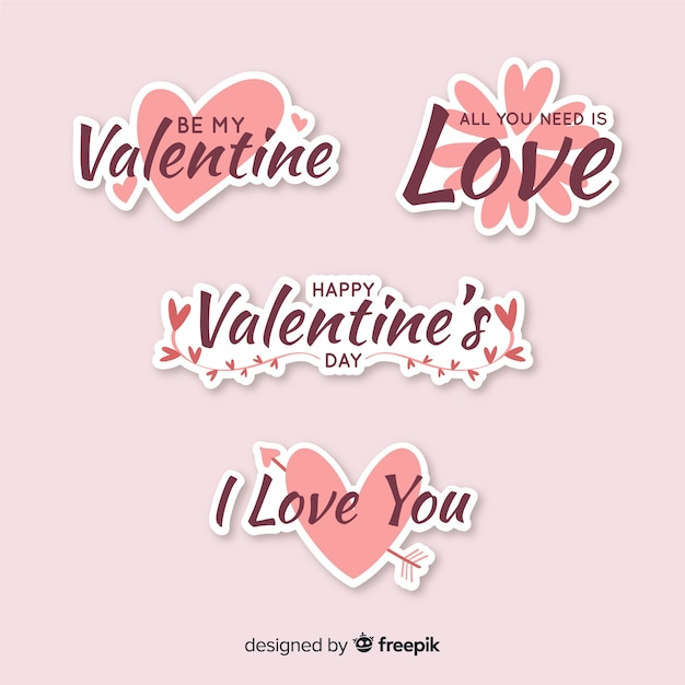Valentine sticker collection Free Vector