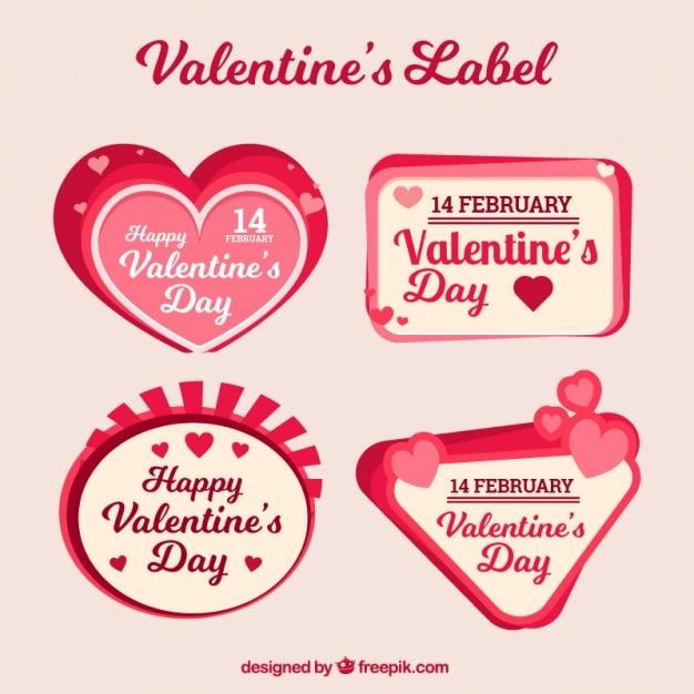 Valentine Stickers In Retro Style Free Vector