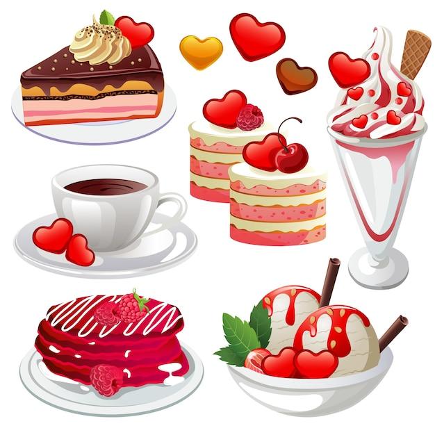 valentine sweets and beverage premium vector valentine sweets
