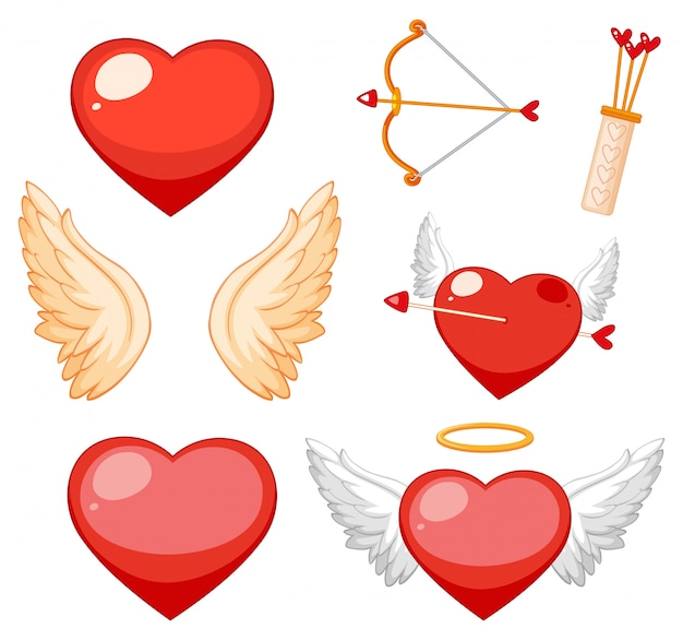 Valentine theme with hearts and wings Free Vector
