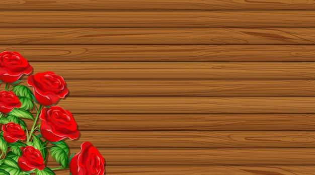 木の板と赤いバラのバレンタインテーマ 無料ベクター