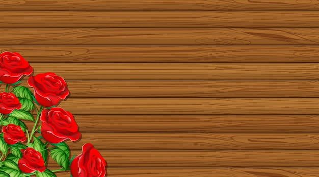 Valentine theme with wooden board and red roses Free Vector