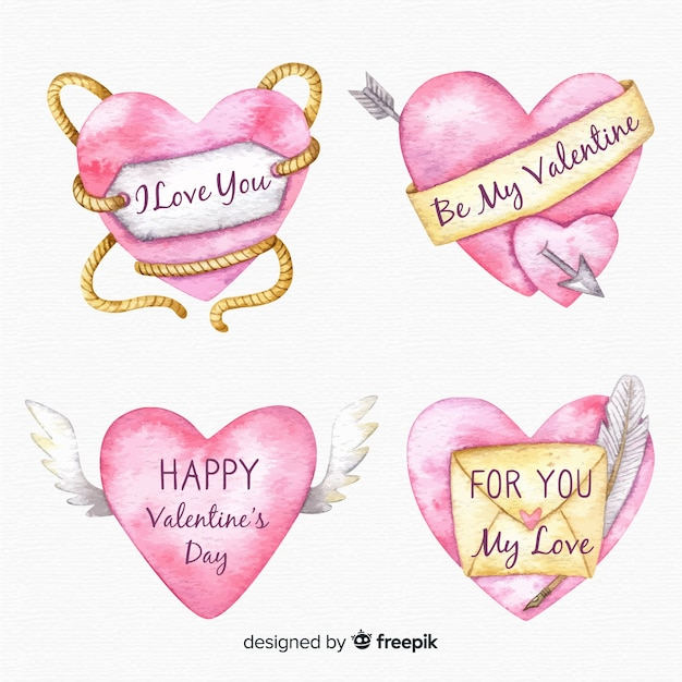 Valentine watercolor heart collection Free Vector