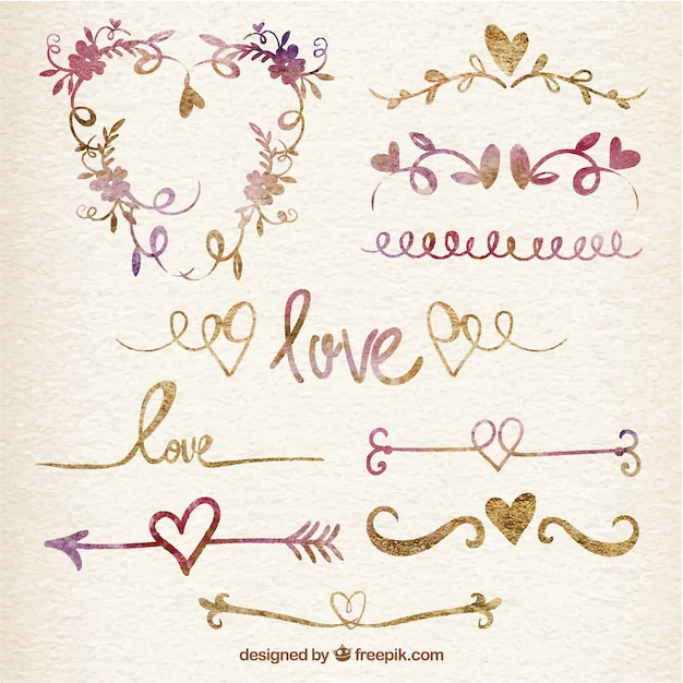 Valentine watercolor ornaments Free Vector