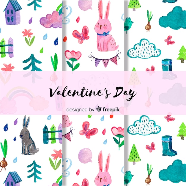 Valentine watercolor pattern set Free Vector