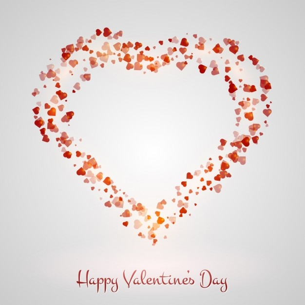 Valentines Background With Heart Made With Hearts Free Vector