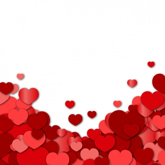 Schön Valentines Background With Red Hearts Free Vector