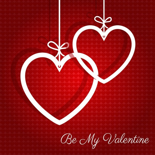 Valentines Background With Two White Hearts Hanging Free Vector