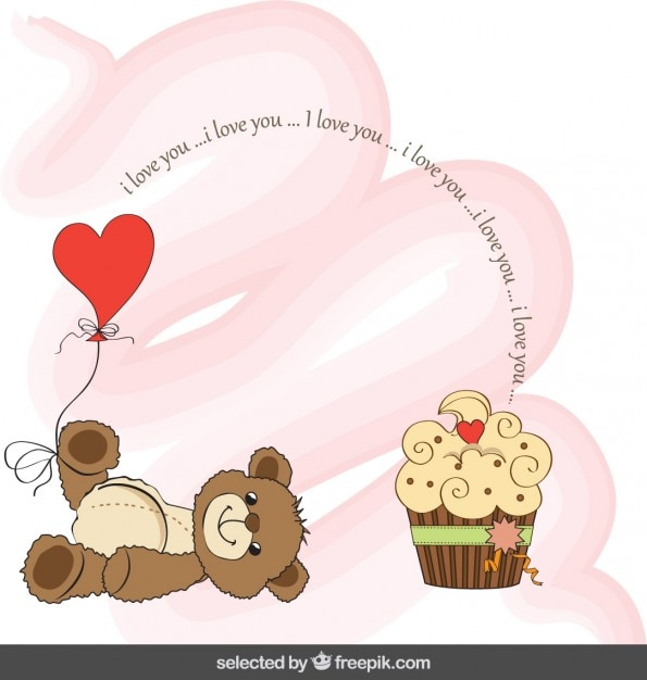 Valentines card with adorable teddy bear and cupcake Vector – Bear Valentines Card