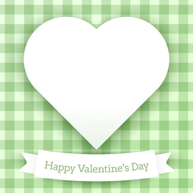 Valentines Card With Green Checkered Background Vector Free Download