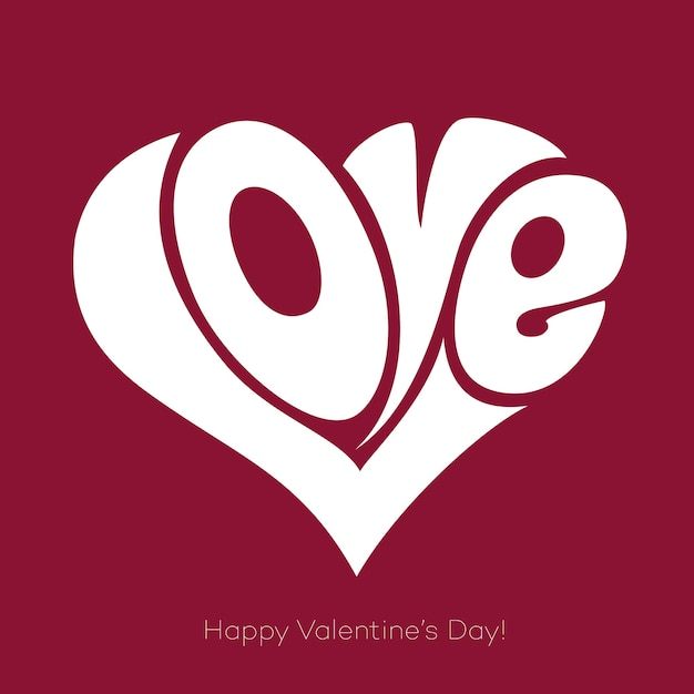 Valentines card with love lettering. happy valentine's day Premium Vector