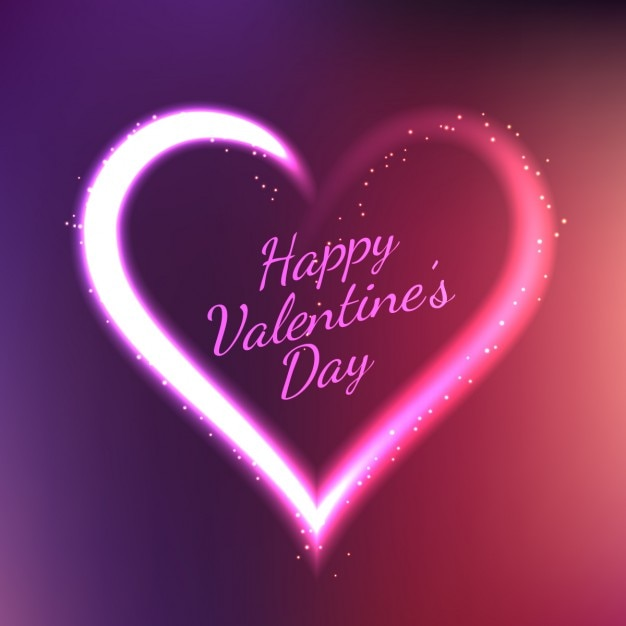 Valentines card with neon heart