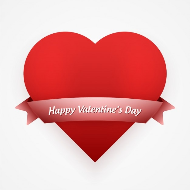 Valentines card with red heart and ribbon Vector – Download Valentine Card