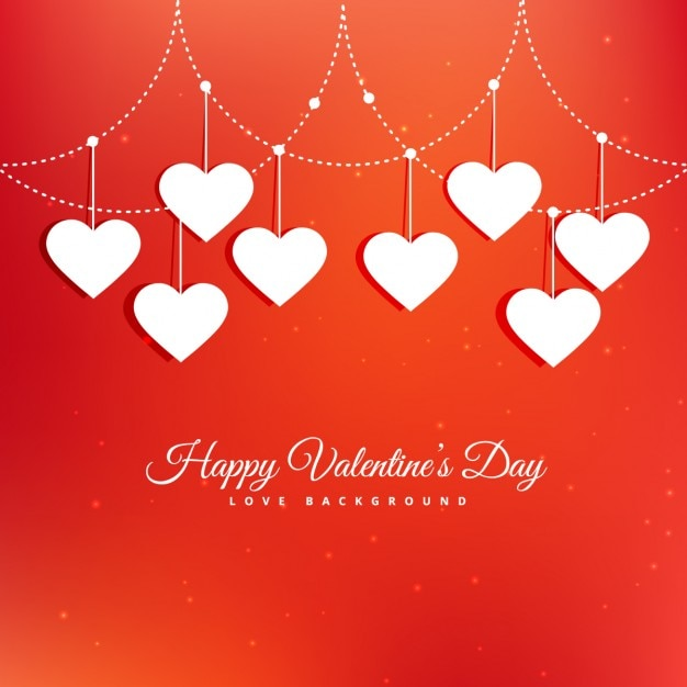 Valentines card with white hanging hearts Vector – Free Download Valentine Card