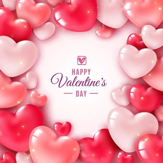 День святого валентина 3d сердца Premium векторы