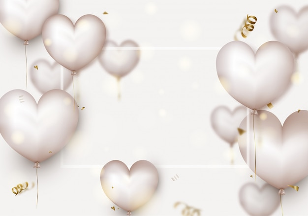 Valentines day . 3d white hearts,blurred flying confetti,particles, bokeh. Premium Vector