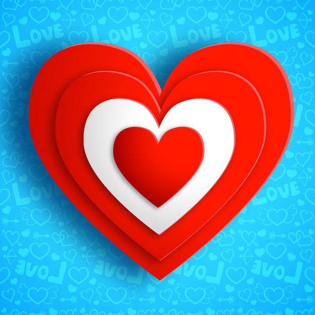 День святого валентина amour с красными сердцами, изолированных векторная иллюстрация Бесплатные векторы