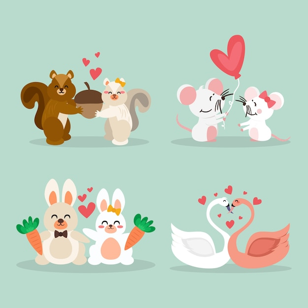 Valentines day animal couple collection concept Free Vector