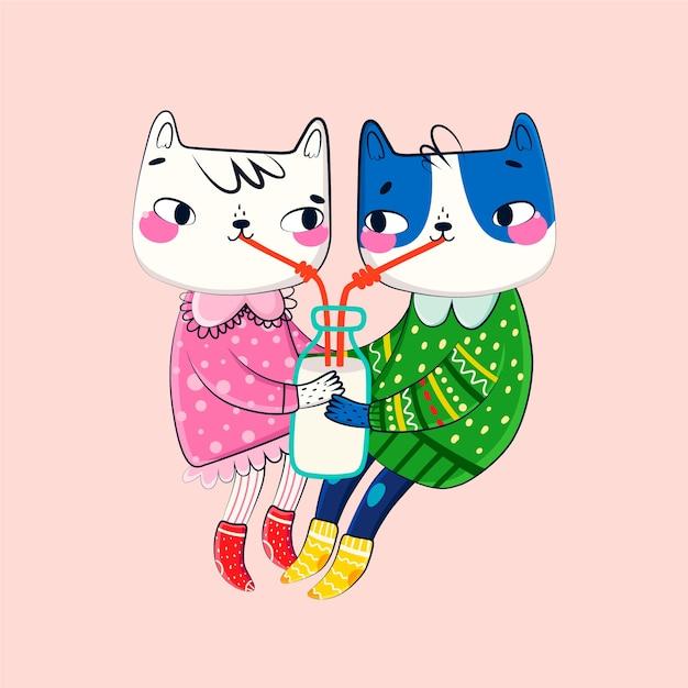 Valentines day animal couple Free Vector