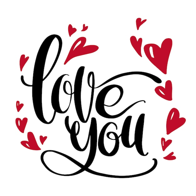 Valentines day artistic hand drawn card Premium Vector