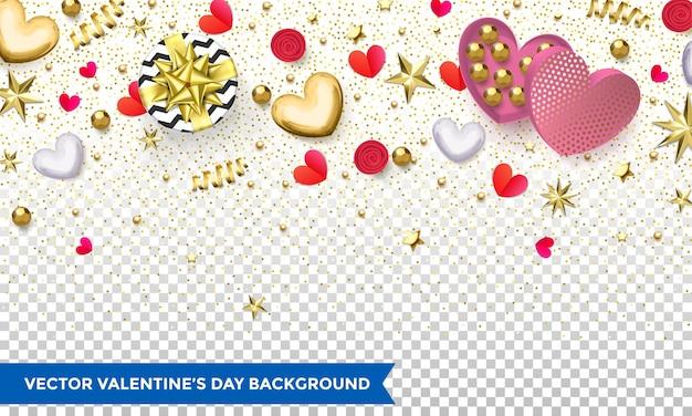 발렌타인 데이 하트와 골드 반짝이 색종이 또는 휴가 꽃 패턴의 배경 디자인. 프리미엄 벡터