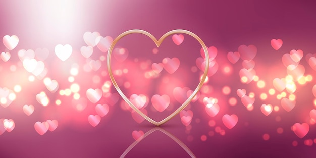 Valentines day background design with a gold heart design Free Vector