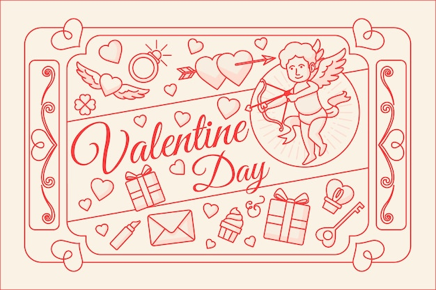Valentines day background in flat design Free Vector