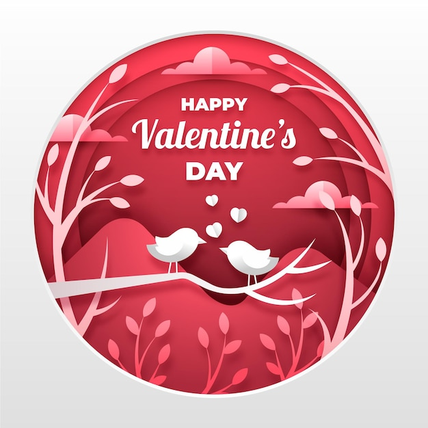 Valentines day background in paper style Free Vector