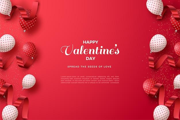 3dバルーンと赤いリボンでバレンタインデーの背景。 Premiumベクター
