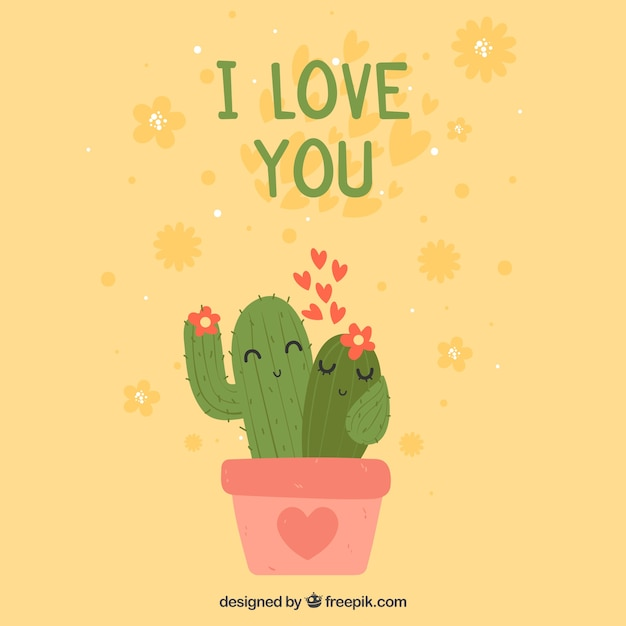 Valentines Day Background With Cactus Couple Vector Free Download