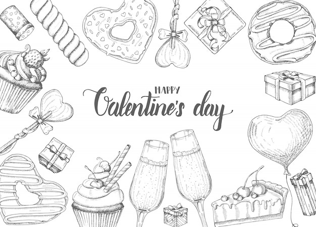 Valentines day background with doodle hand drawn objects in sketch style-lollipop, glazed donut, glass of champagne, gift boxes, pie and cupcake. happy valentines day - lettering calligraphy phrase Premium Vector