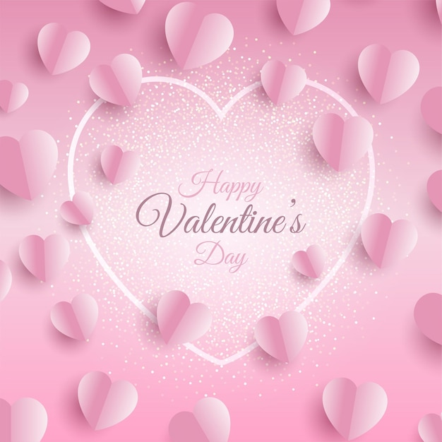 Valentines day background with folded hearts design Free Vector