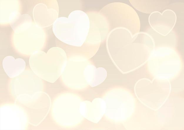 День святого валентина фон с золотым дизайном огней боке Бесплатные векторы