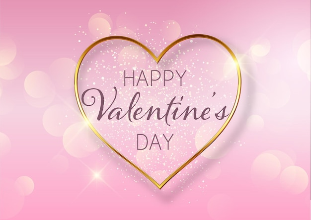 Valentines day background with golden heart design and bokeh lights Free Vector