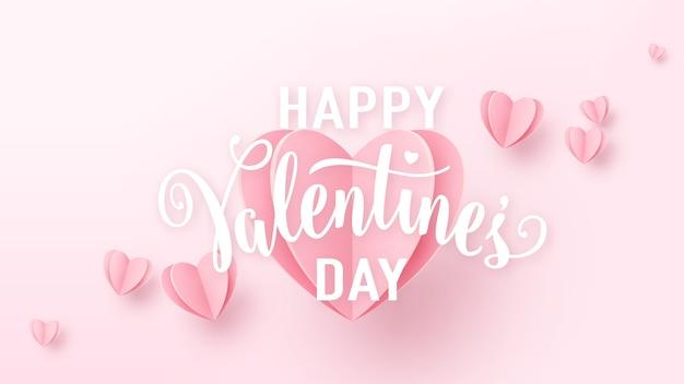 День святого валентина фон с светло-розовыми бумажными сердцами и белым текстовым знаком. Бесплатные векторы