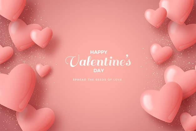 Valentines day background with pink 3d balloons. Premium Vector