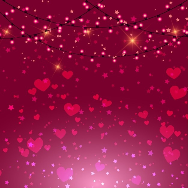 valentines day background with pink hearts and lights free vector