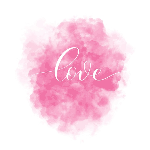 Valentines day  background with pink watercolor stain and lettering inscription love. interior card illustration. Premium Vector