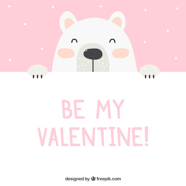 Valentines day background with polar bear Free Vector