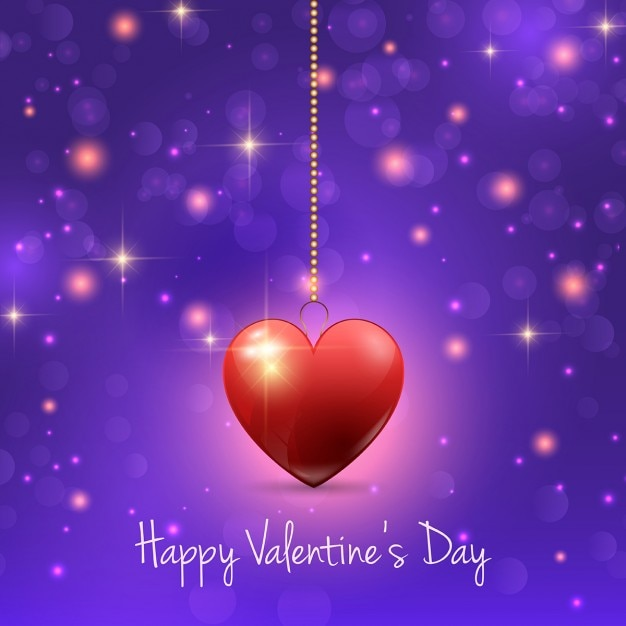 Valentines day background with red heart Free Vector
