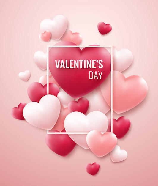 Valentines day background with red, pink hearts and frame for text Premium Vector