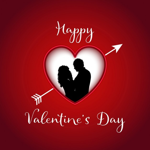 Valentines Day Background With Silhouette Of A Couple In A Heart Free Vector