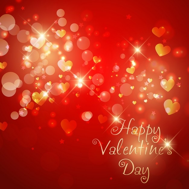 Valentines Day Background With Sparkle Hearts Vector Free Download