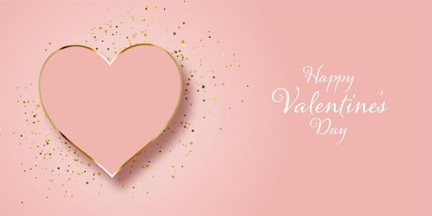 Design di banner di san valentino con glitter oro e cuore Vettore gratuito