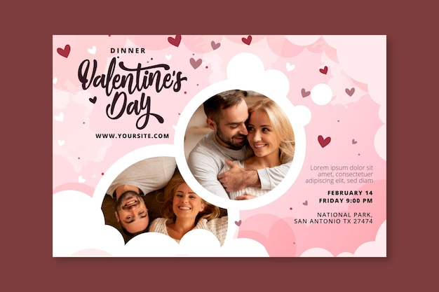 Valentines day banner template Free Vector